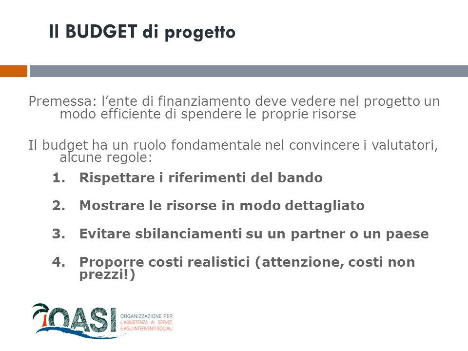 Il BUDGET di progetto Premessa: l'ente di finanziamento deve vedere nel progetto un modo efficiente di spendere le proprie risorse.