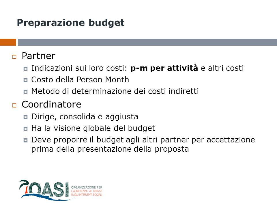 Preparazione budget Partner Coordinatore