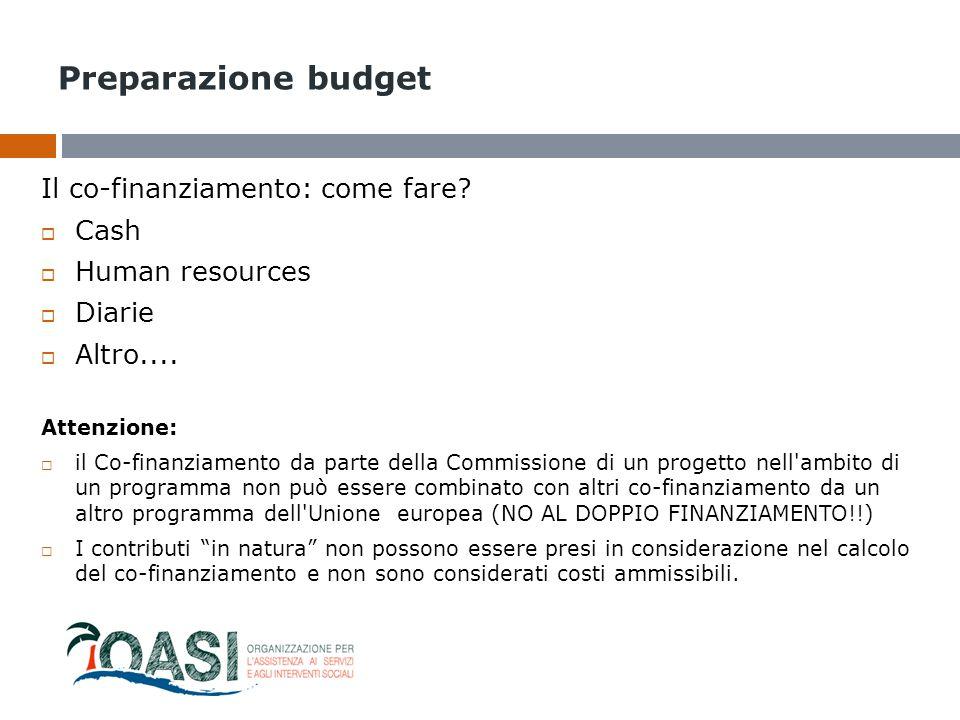 Preparazione budget Il co-finanziamento: come fare Cash