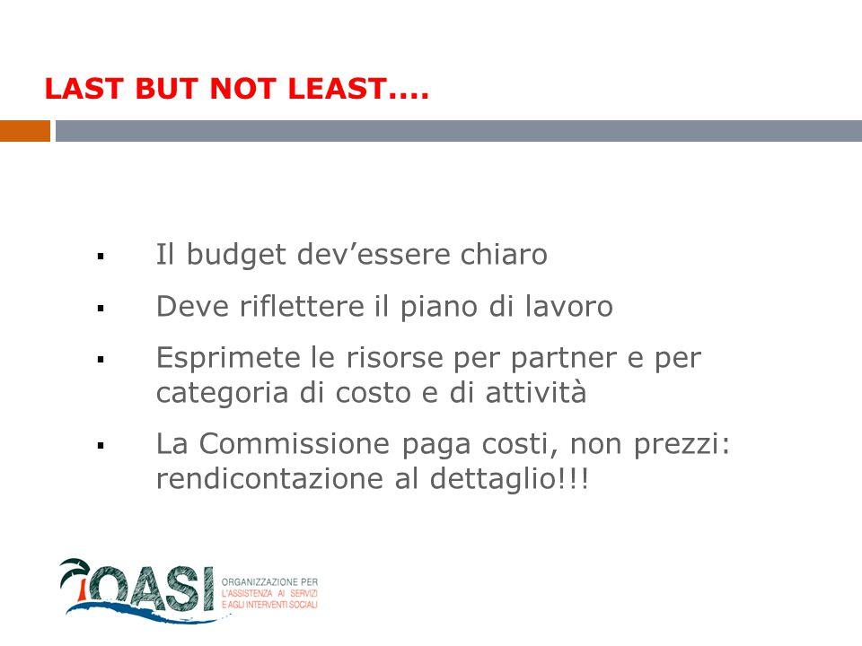 LAST BUT NOT LEAST.... Il budget dev'essere chiaro. Deve riflettere il piano di lavoro.
