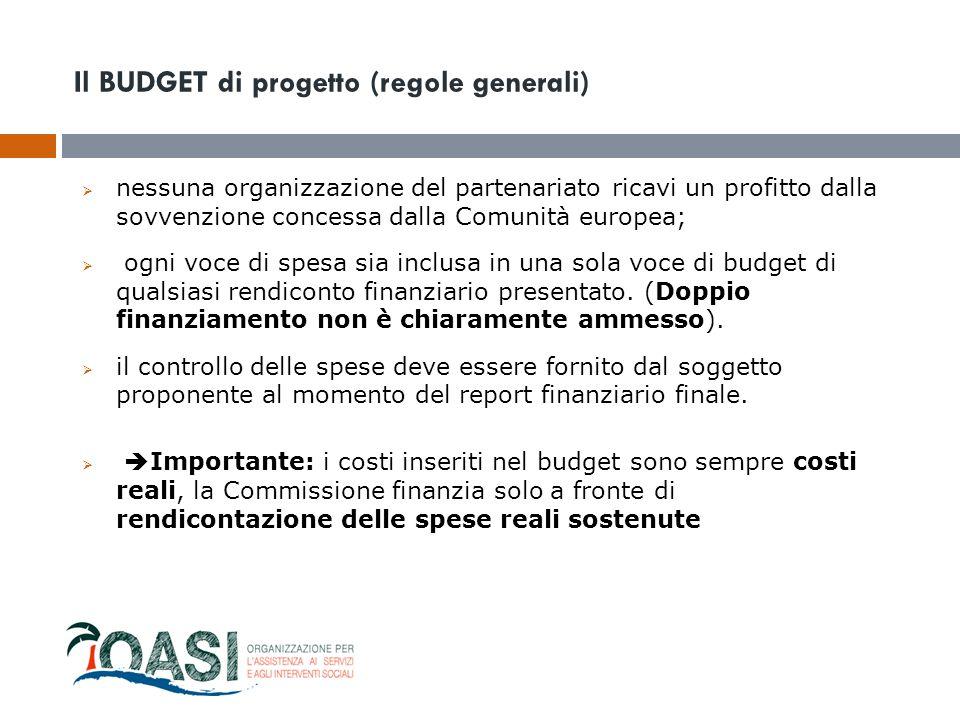 Il BUDGET di progetto (regole generali)