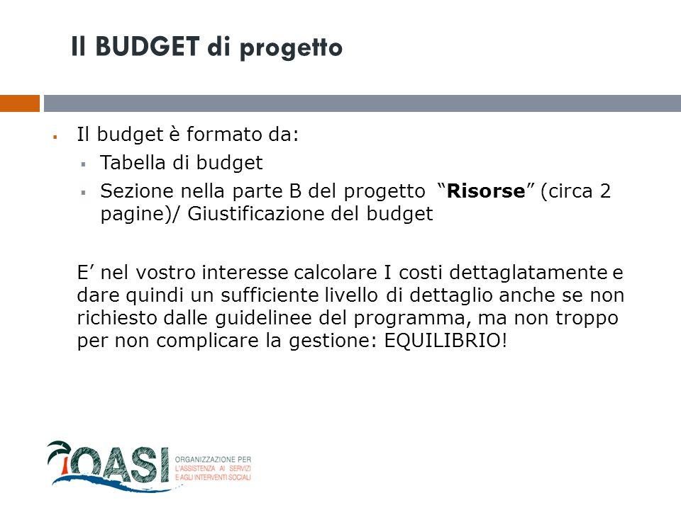 Il BUDGET di progetto Il budget è formato da: Tabella di budget
