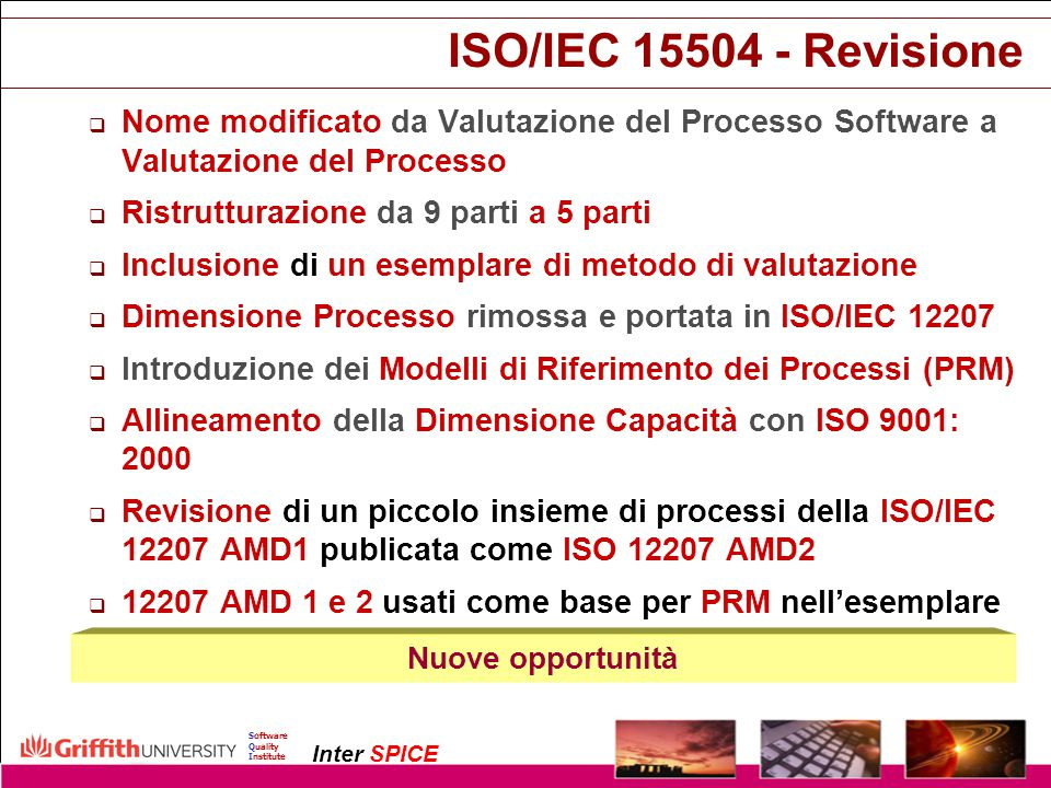07/04/2017 ISO/IEC 15504 - Revisione. Nome modificato da Valutazione del Processo Software a Valutazione del Processo.