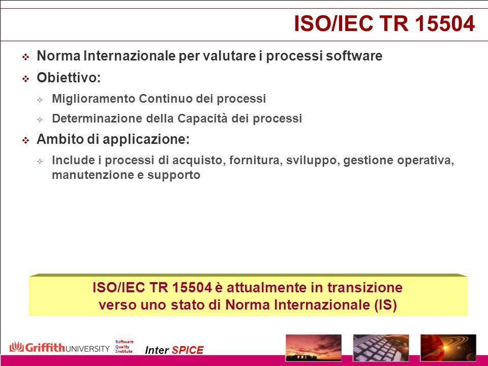 ISO/IEC TR 15504 ISO/IEC TR 15504 è attualmente in transizione