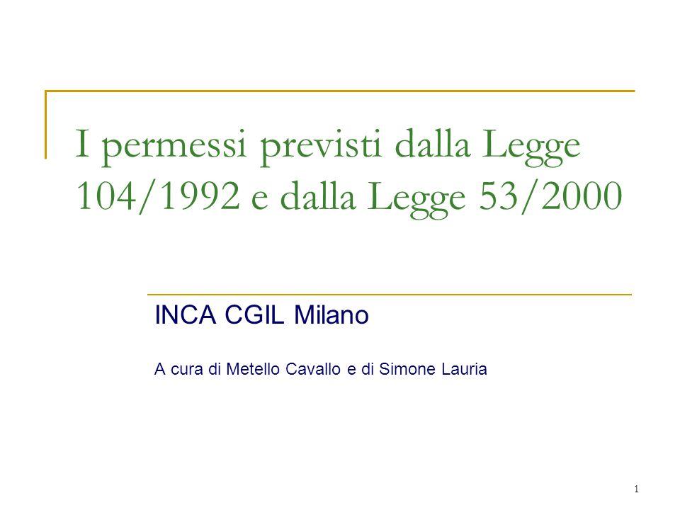 I permessi previsti dalla Legge 104/1992 e dalla Legge 53/2000