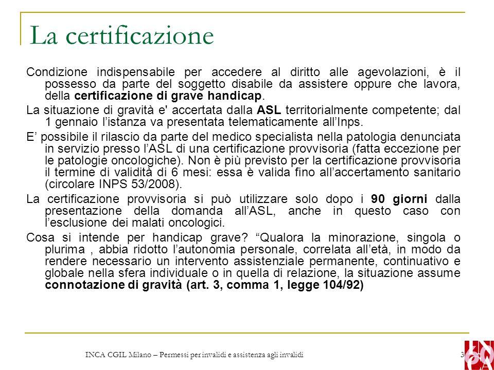INCA CGIL Milano – Permessi per invalidi e assistenza agli invalidi