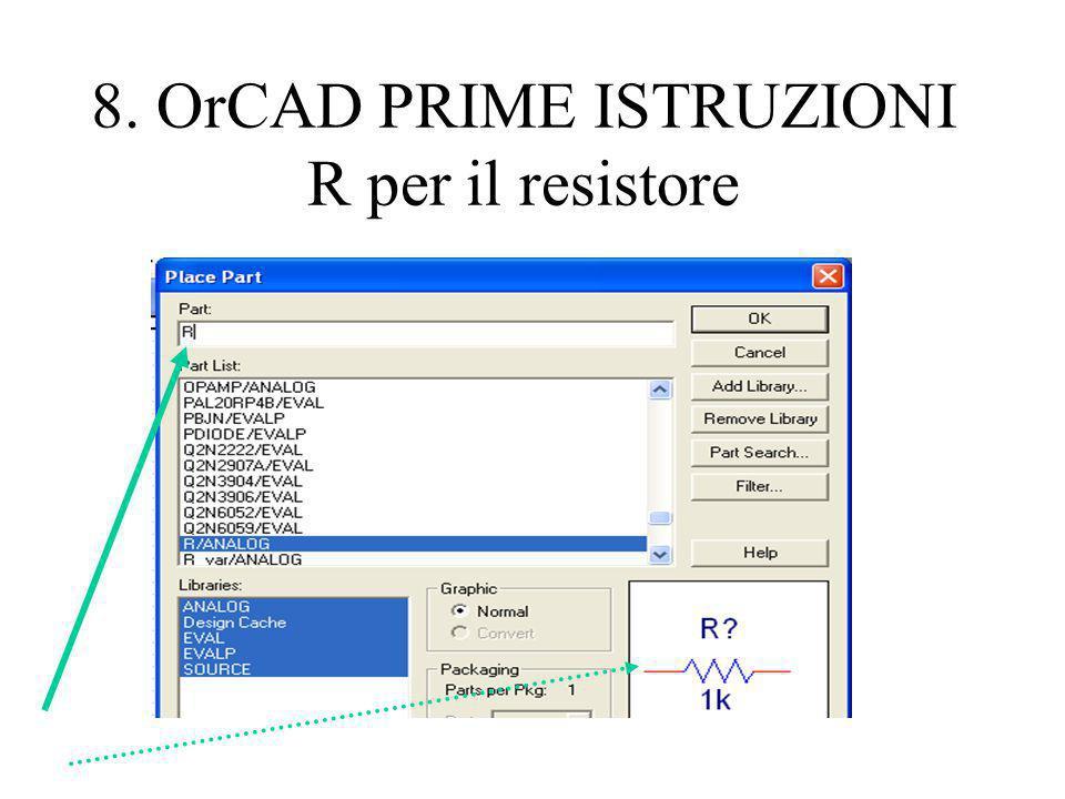 8. OrCAD PRIME ISTRUZIONI R per il resistore