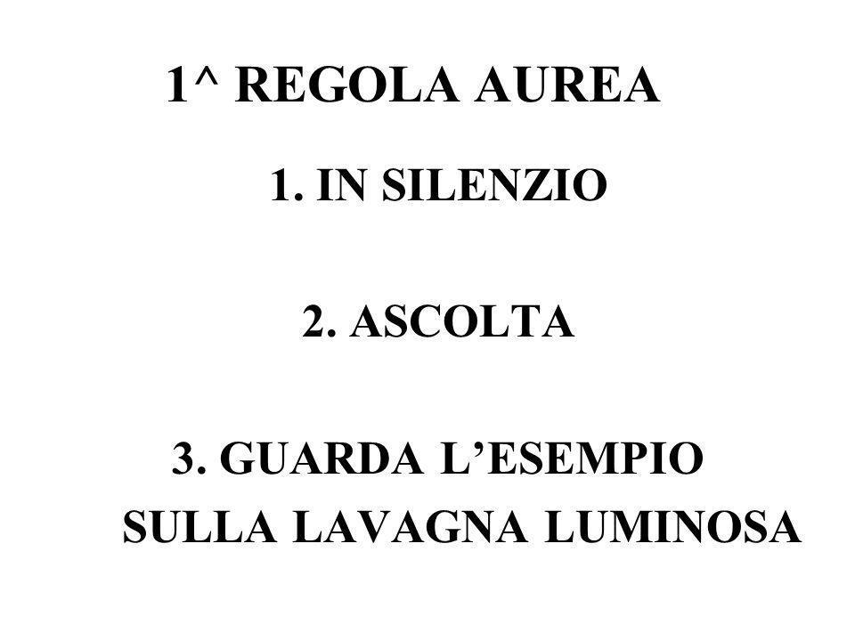 1. IN SILENZIO 2. ASCOLTA 3. GUARDA L'ESEMPIO SULLA LAVAGNA LUMINOSA