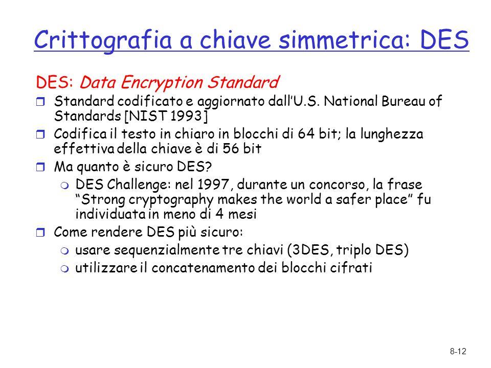 Crittografia a chiave simmetrica: DES