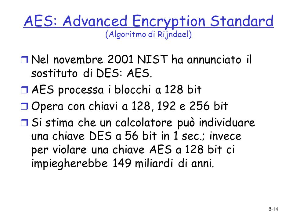 AES: Advanced Encryption Standard (Algoritmo di Rijndael)