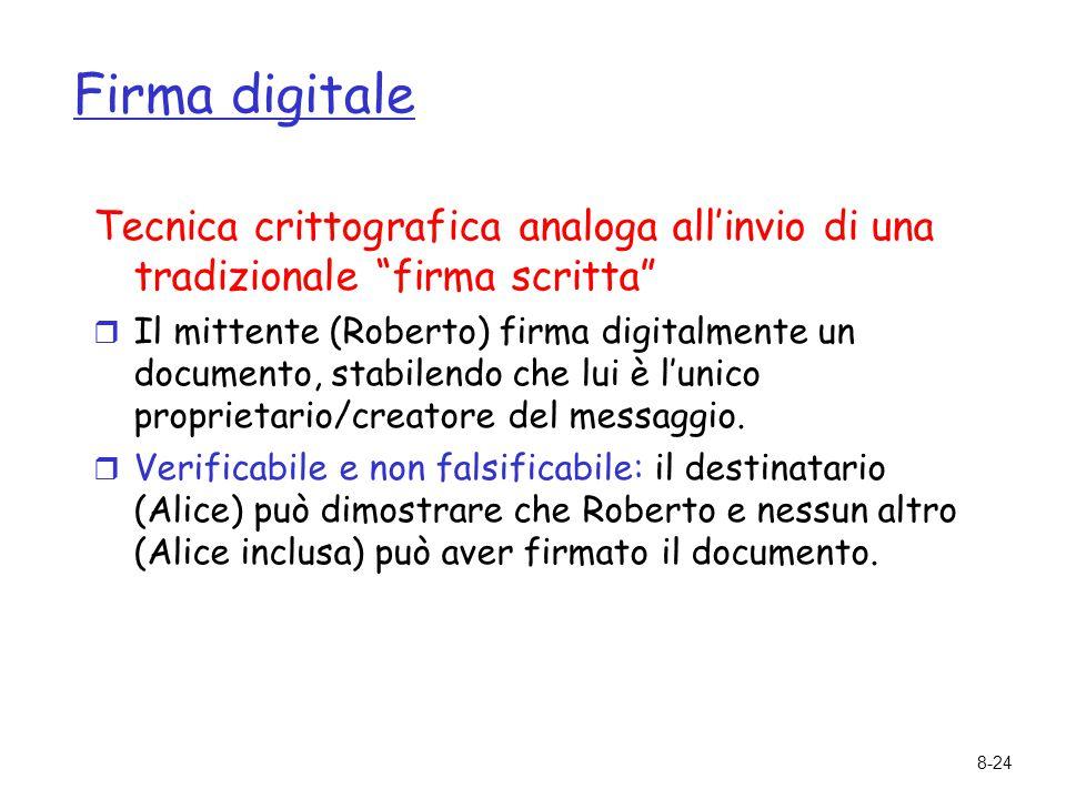 Firma digitale Tecnica crittografica analoga all'invio di una tradizionale firma scritta