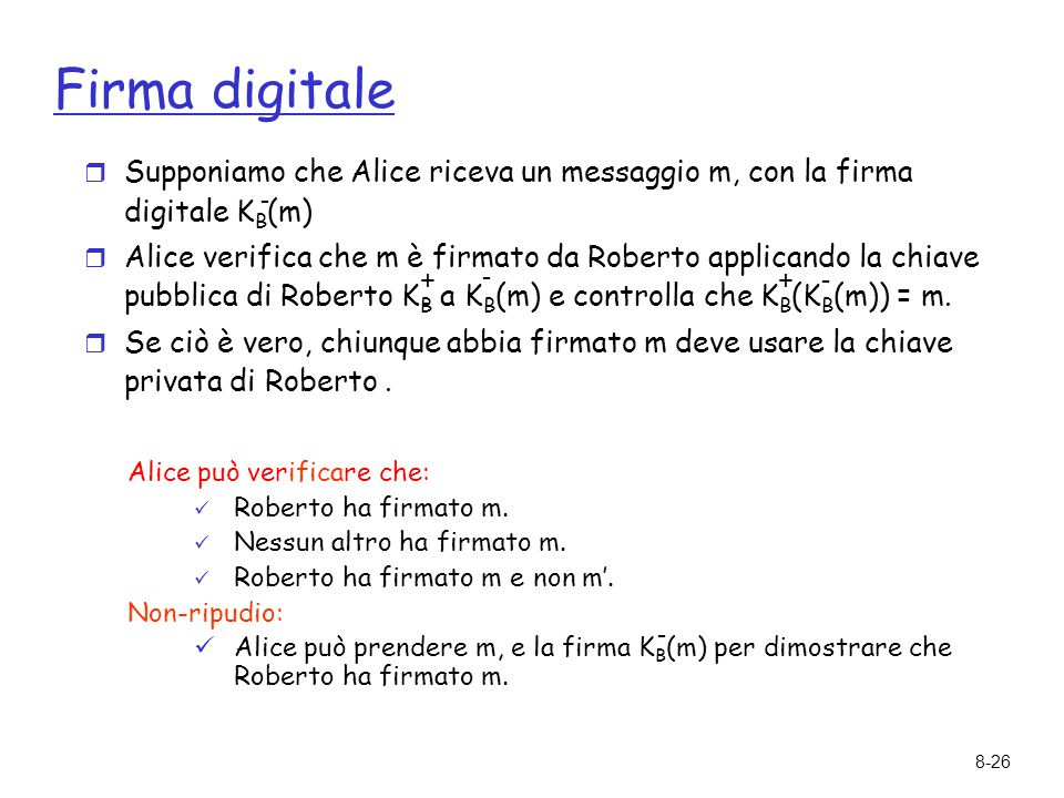 Firma digitale Supponiamo che Alice riceva un messaggio m, con la firma digitale KB(m)