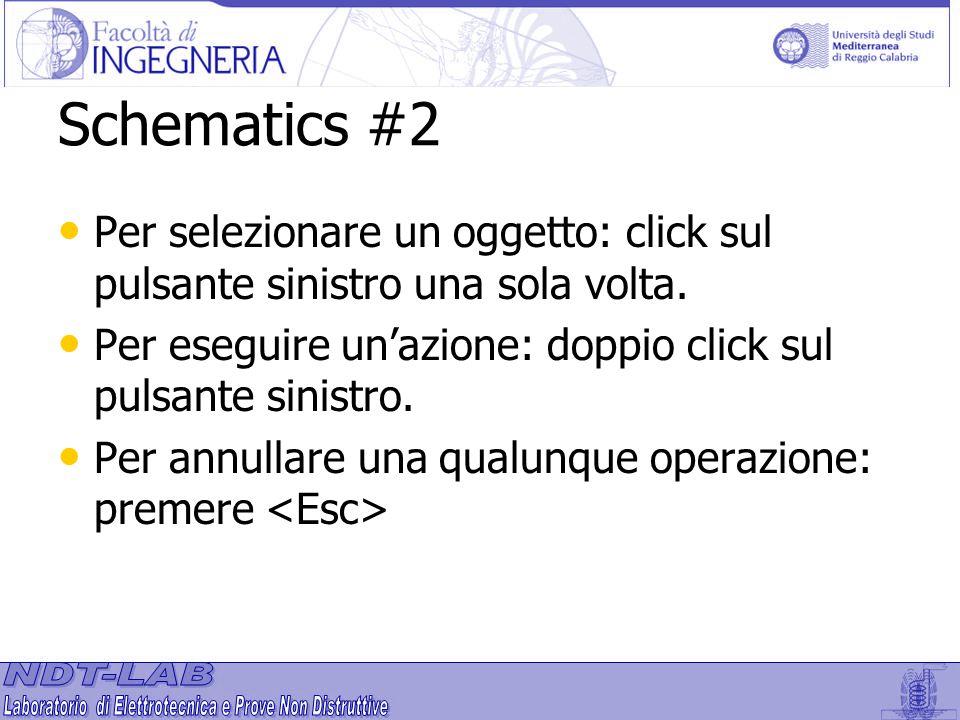 Schematics #2 Per selezionare un oggetto: click sul pulsante sinistro una sola volta. Per eseguire un'azione: doppio click sul pulsante sinistro.