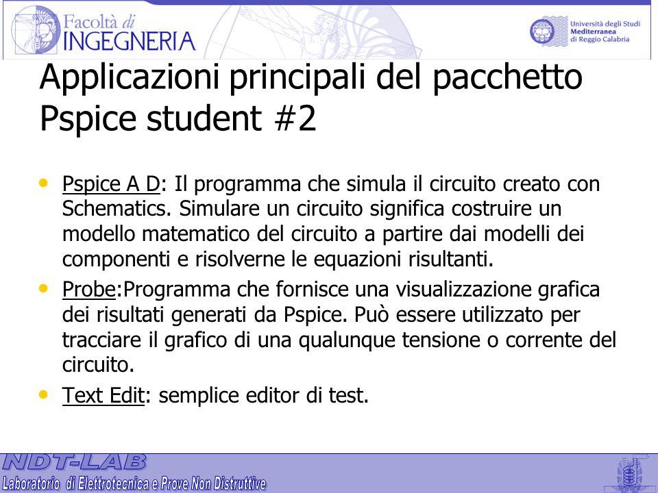 Applicazioni principali del pacchetto Pspice student #2