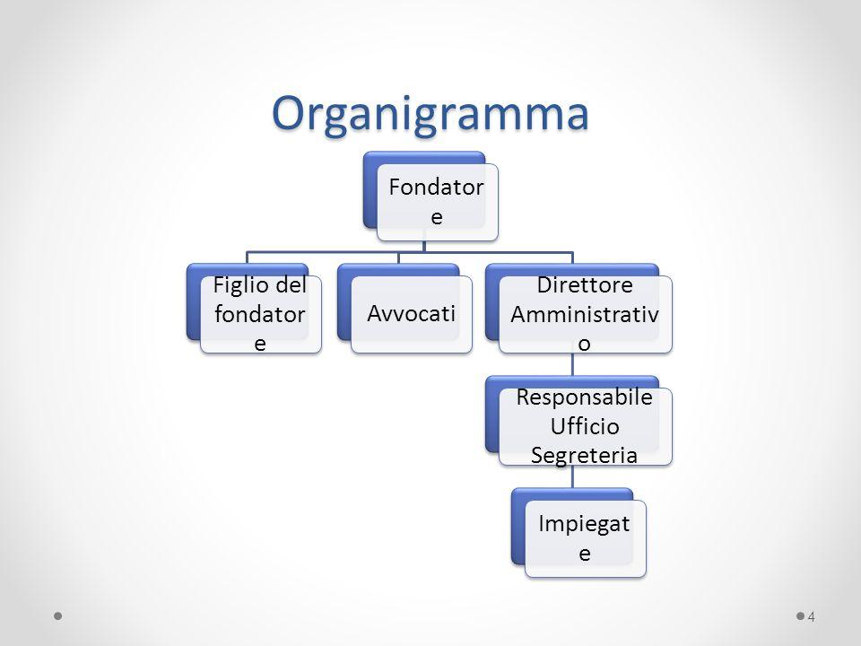 Organigramma Fondatore Figlio del fondatore Direttore Amministrativo