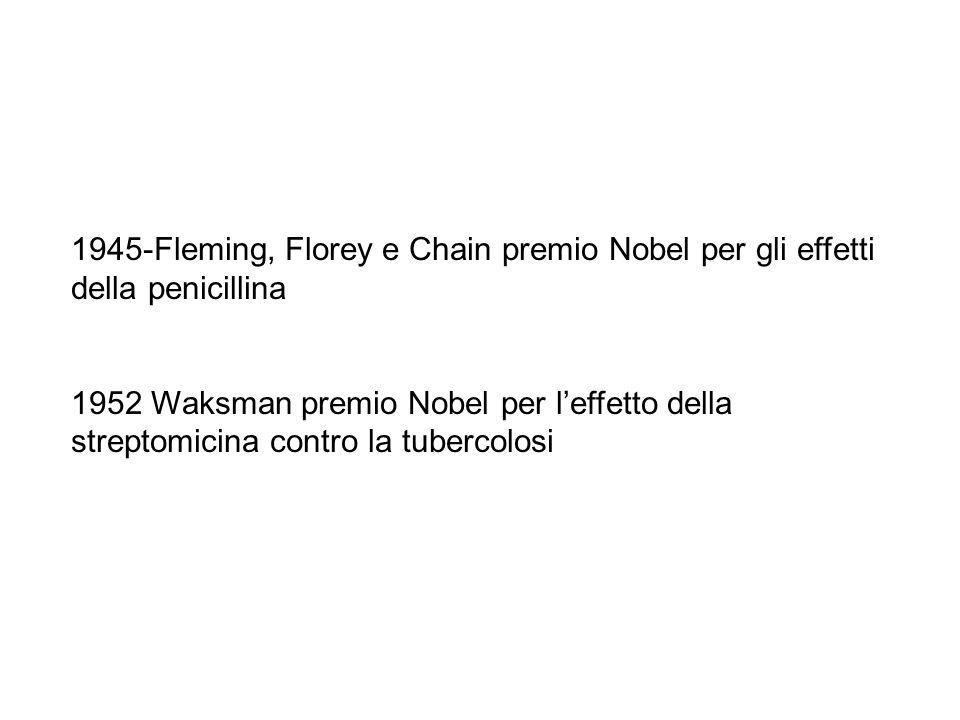 1945-Fleming, Florey e Chain premio Nobel per gli effetti della penicillina