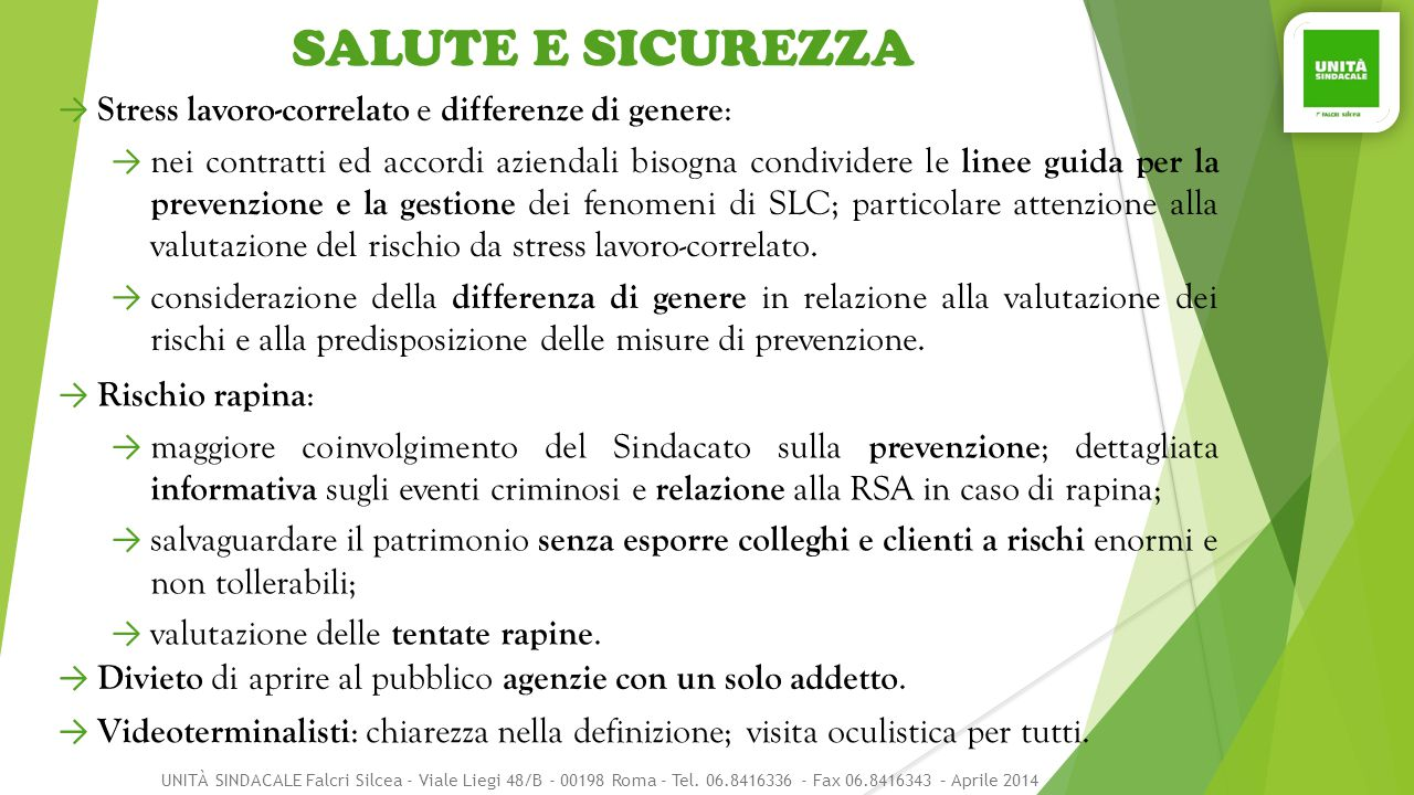 SALUTE E SICUREZZA Stress lavoro-correlato e differenze di genere: