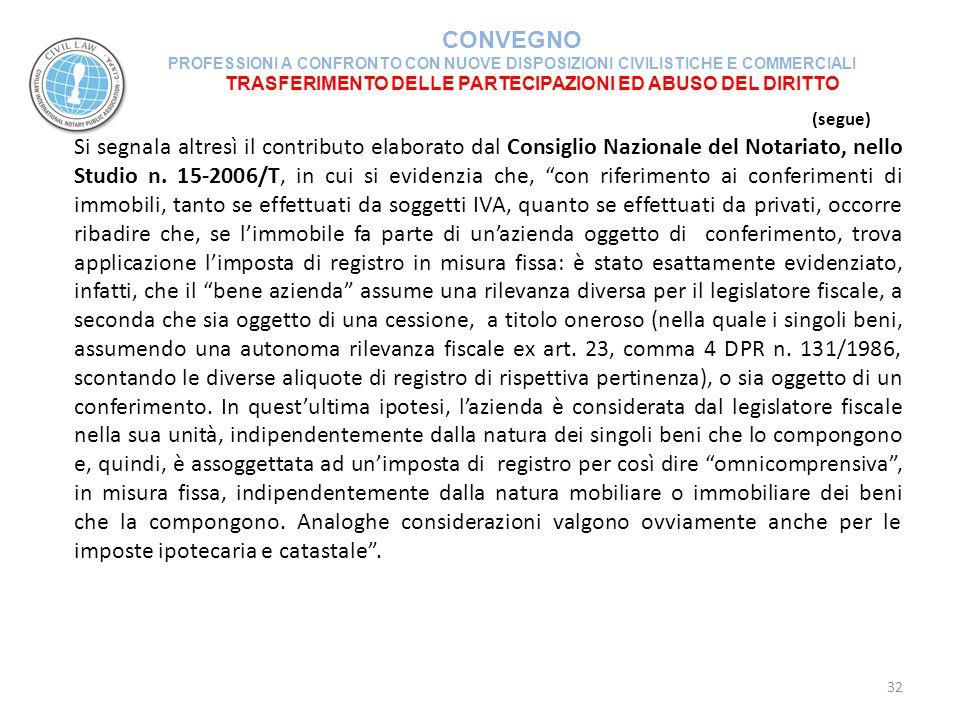 TRASFERIMENTO DELLE PARTECIPAZIONI ED ABUSO DEL DIRITTO
