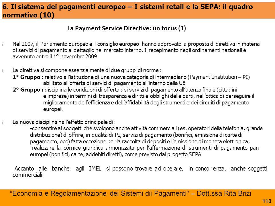 La Payment Service Directive: un focus (1)