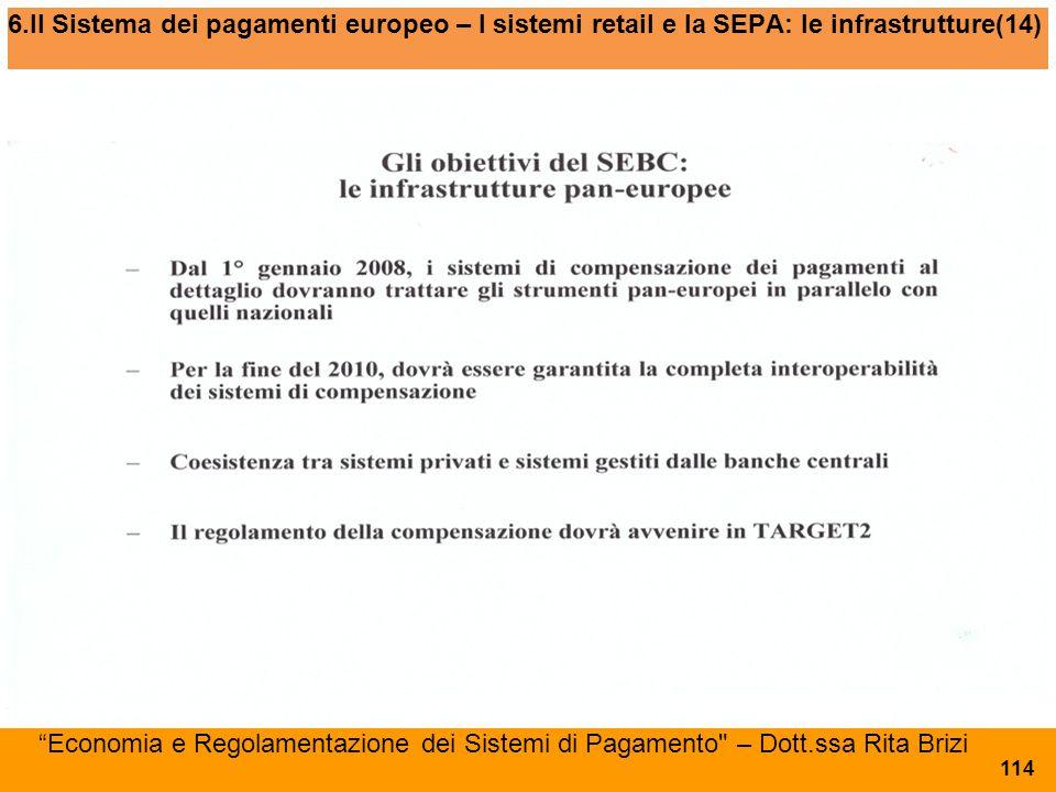 6.Il Sistema dei pagamenti europeo – I sistemi retail e la SEPA: le infrastrutture(14)