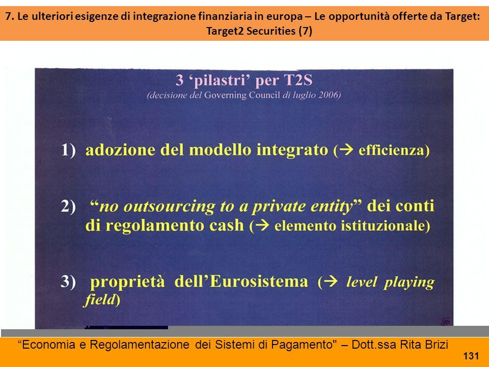 7. Le ulteriori esigenze di integrazione finanziaria in europa – Le opportunità offerte da Target: