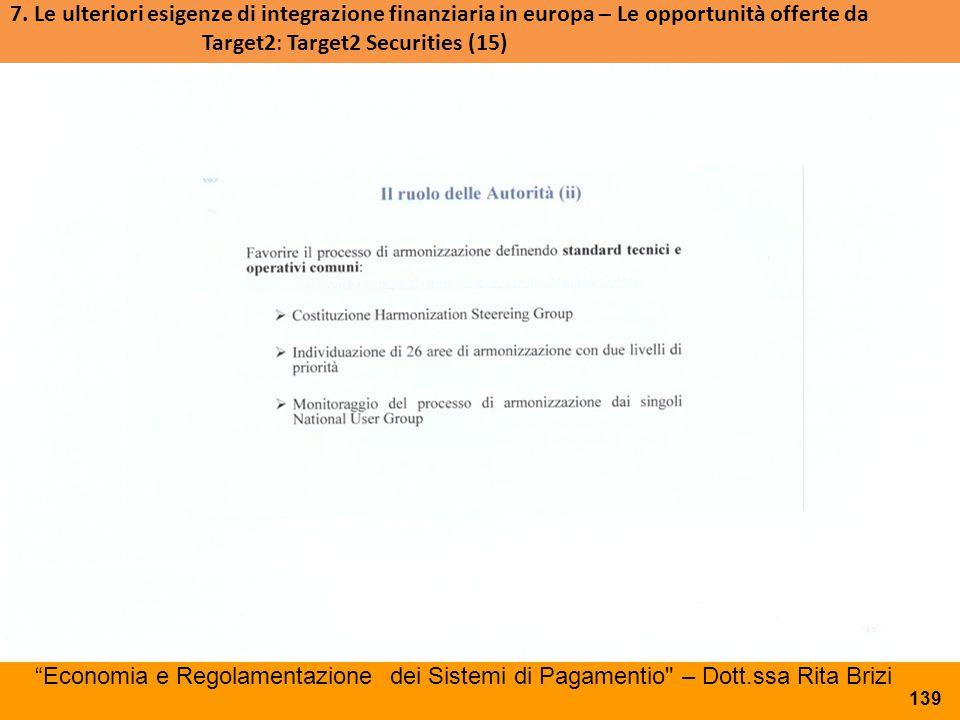 7. Le ulteriori esigenze di integrazione finanziaria in europa – Le opportunità offerte da Target2: Target2 Securities (15)