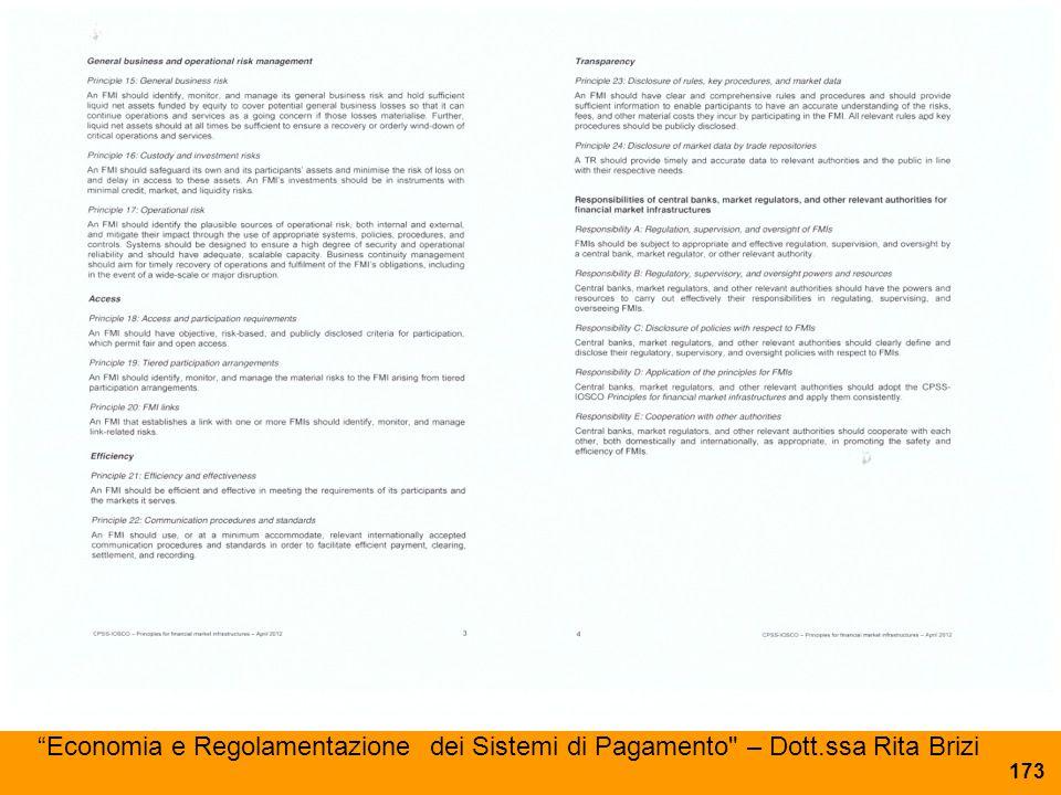 Economia e Regolamentazione dei Sistemi di Pagamento – Dott