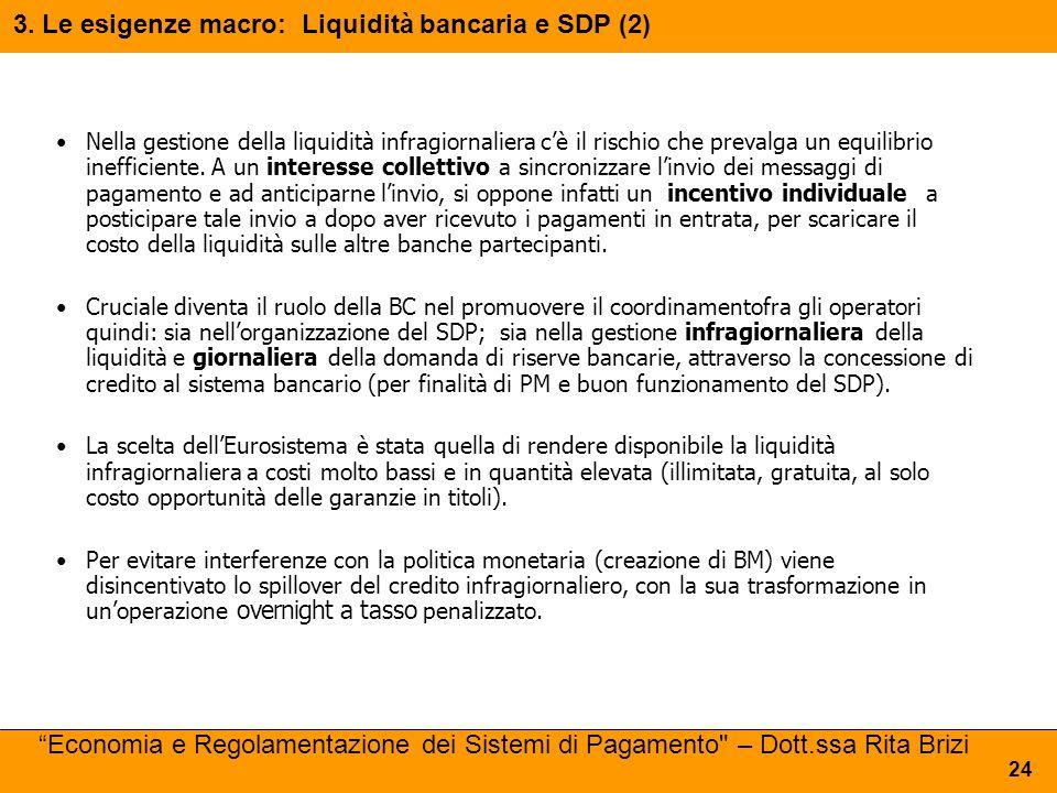 3. Le esigenze macro: Liquidità bancaria e SDP (2)
