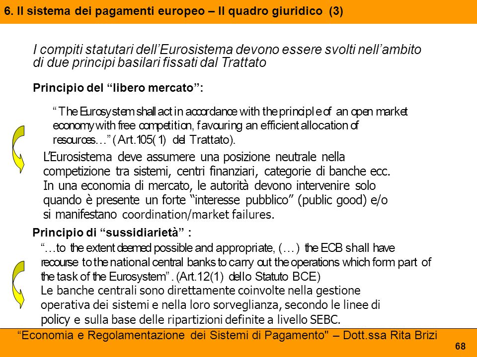 6. Il sistema dei pagamenti europeo – Il quadro giuridico (3)