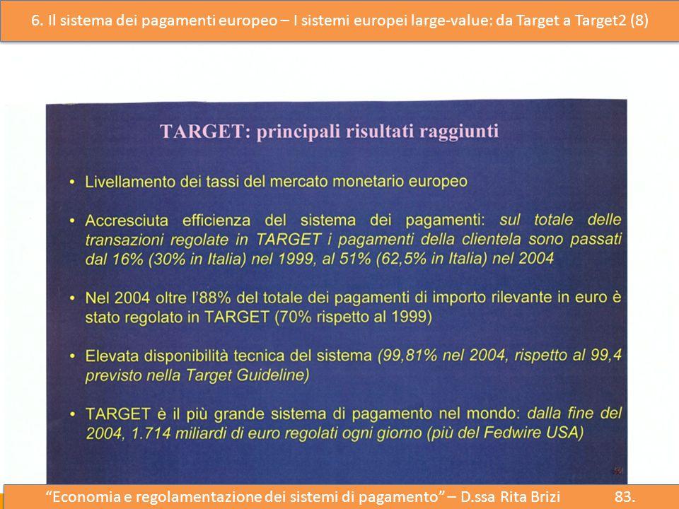 6. Il sistema dei pagamenti europeo – I sistemi europei large-value: da Target a Target2 (8)