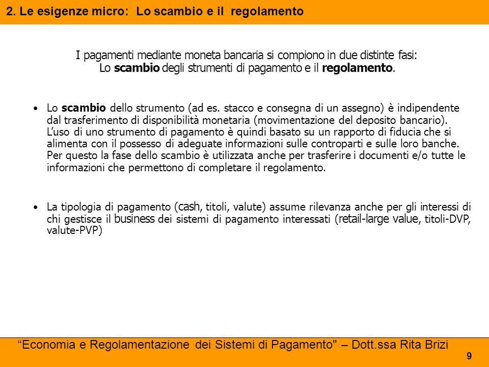 2. Le esigenze micro: Lo scambio e il regolamento