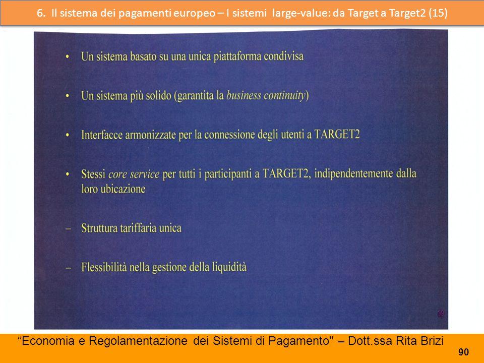 66. 6. Il sistema dei pagamenti europeo – I sistemi large-value: da Target a Target2 (15)