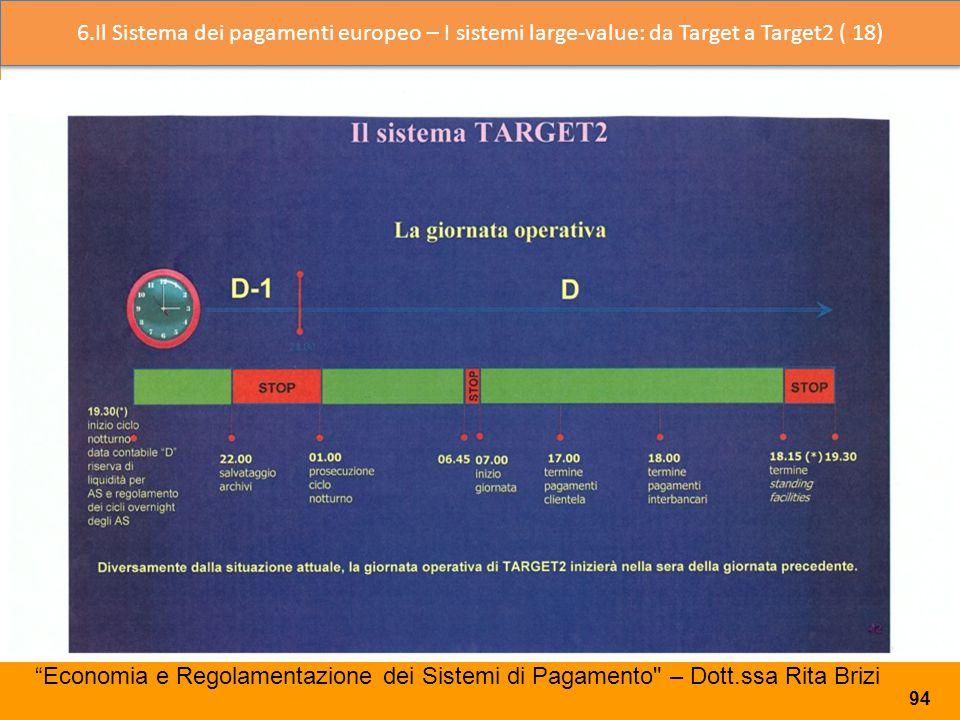 6.Il Sistema dei pagamenti europeo – I sistemi large-value: da Target a Target2 ( 18)