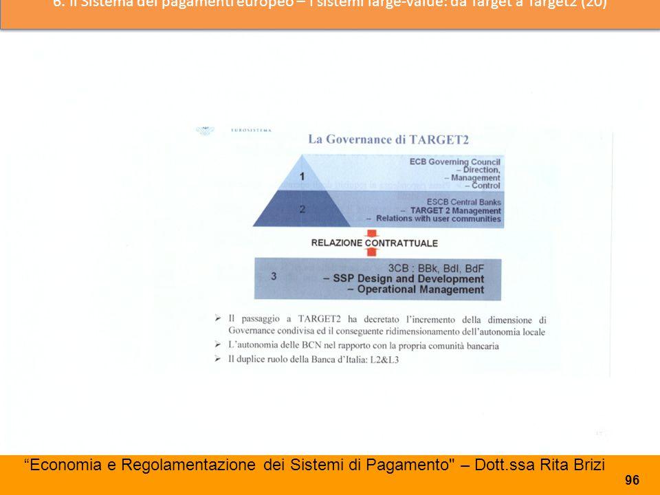 6. Il Sistema dei pagamenti europeo – I sistemi large-value: da Target a Target2 (20)
