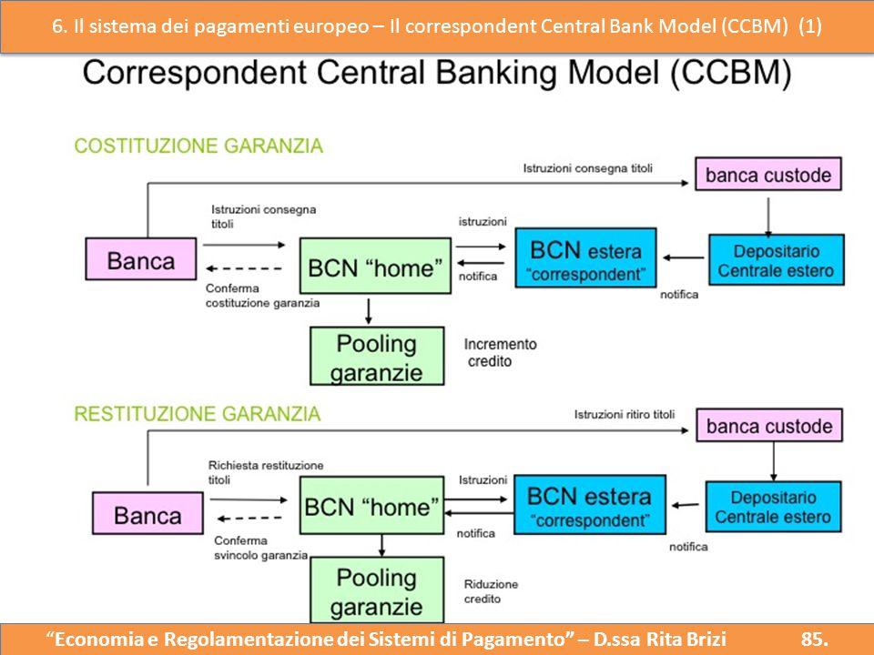 6. Il sistema dei pagamenti europeo – Il correspondent Central Bank Model (CCBM) (1)