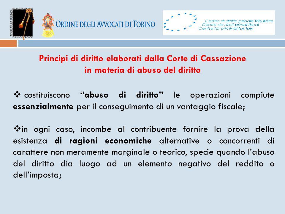 Principi di diritto elaborati dalla Corte di Cassazione