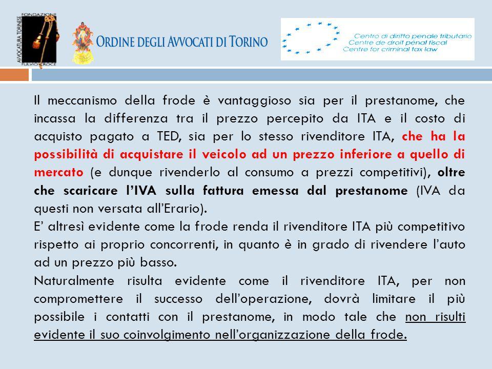 Il meccanismo della frode è vantaggioso sia per il prestanome, che incassa la differenza tra il prezzo percepito da ITA e il costo di acquisto pagato a TED, sia per lo stesso rivenditore ITA, che ha la possibilità di acquistare il veicolo ad un prezzo inferiore a quello di mercato (e dunque rivenderlo al consumo a prezzi competitivi), oltre che scaricare l'IVA sulla fattura emessa dal prestanome (IVA da questi non versata all'Erario).
