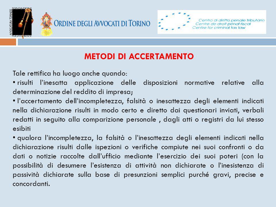 METODI DI ACCERTAMENTO