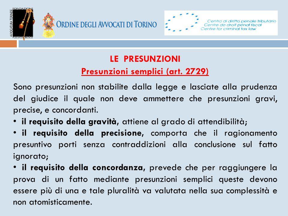 Presunzioni semplici (art. 2729)