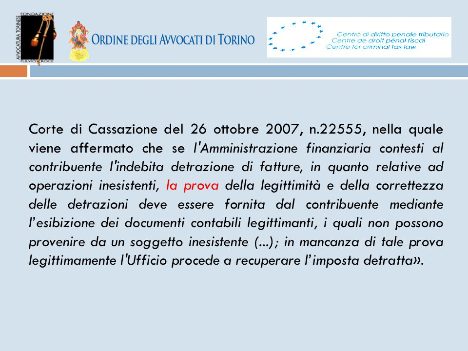 Corte di Cassazione del 26 ottobre 2007, n