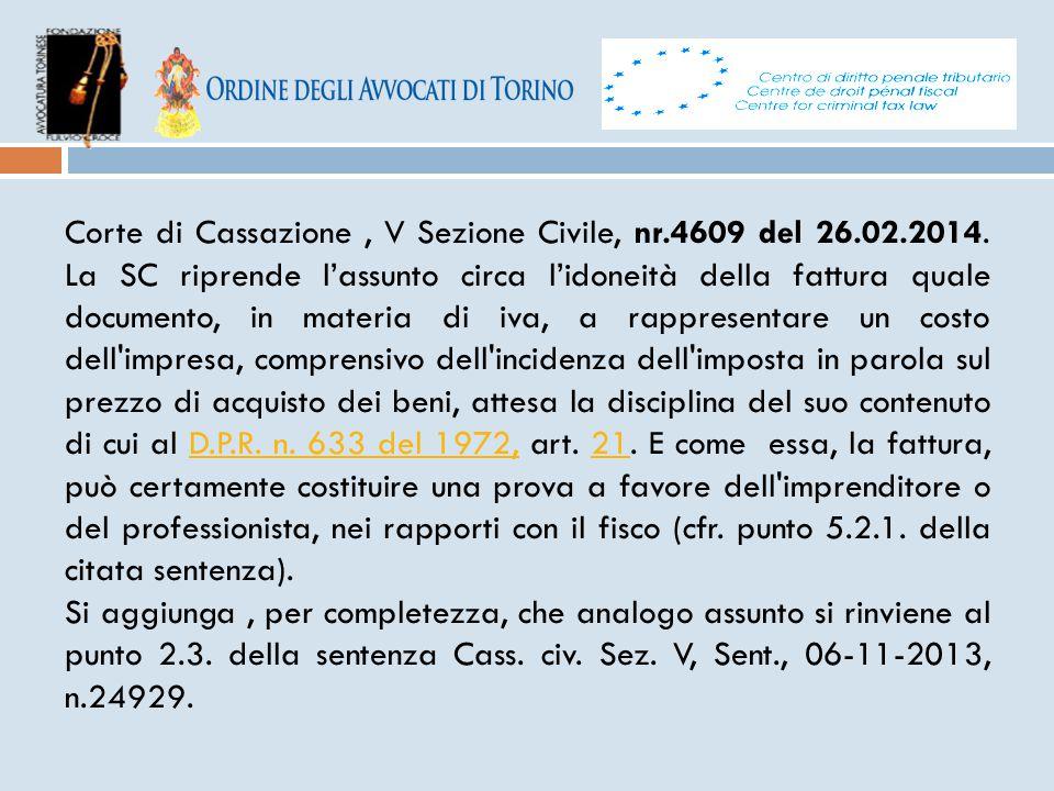 Corte di Cassazione , V Sezione Civile, nr. 4609 del 26. 02. 2014