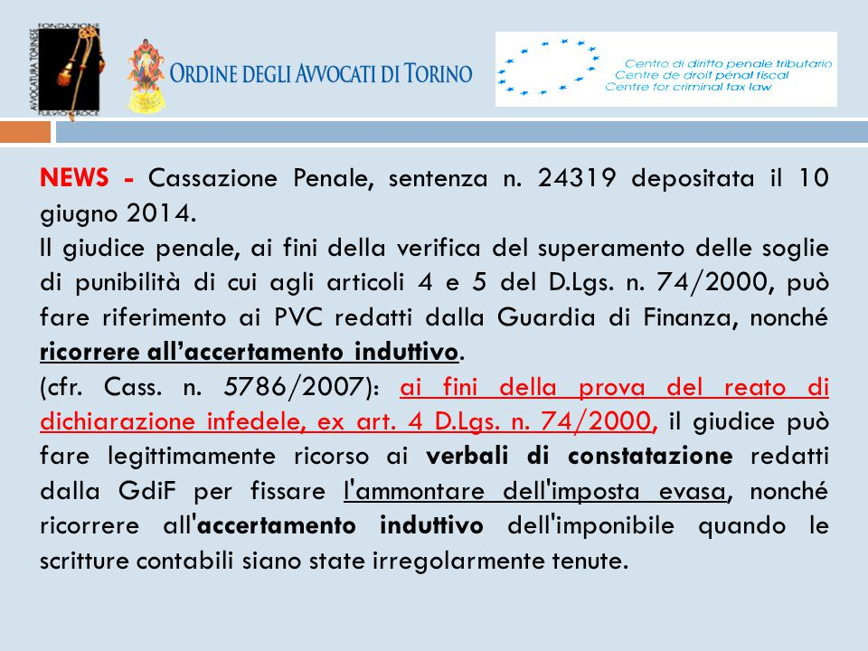 NEWS - Cassazione Penale, sentenza n