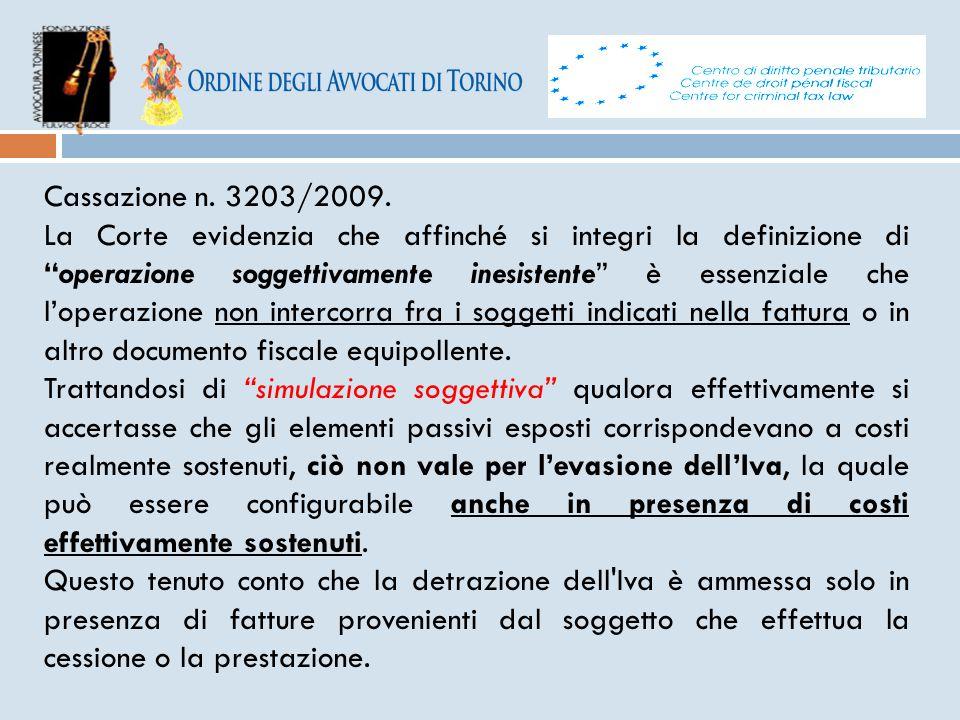 Cassazione n. 3203/2009.