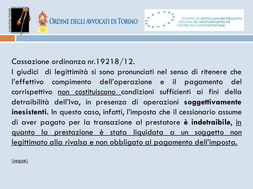 Cassazione ordinanza nr.19218/12.