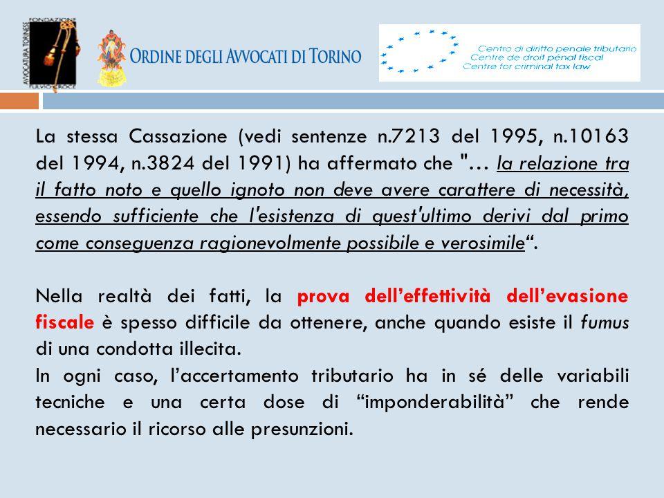 La stessa Cassazione (vedi sentenze n. 7213 del 1995, n