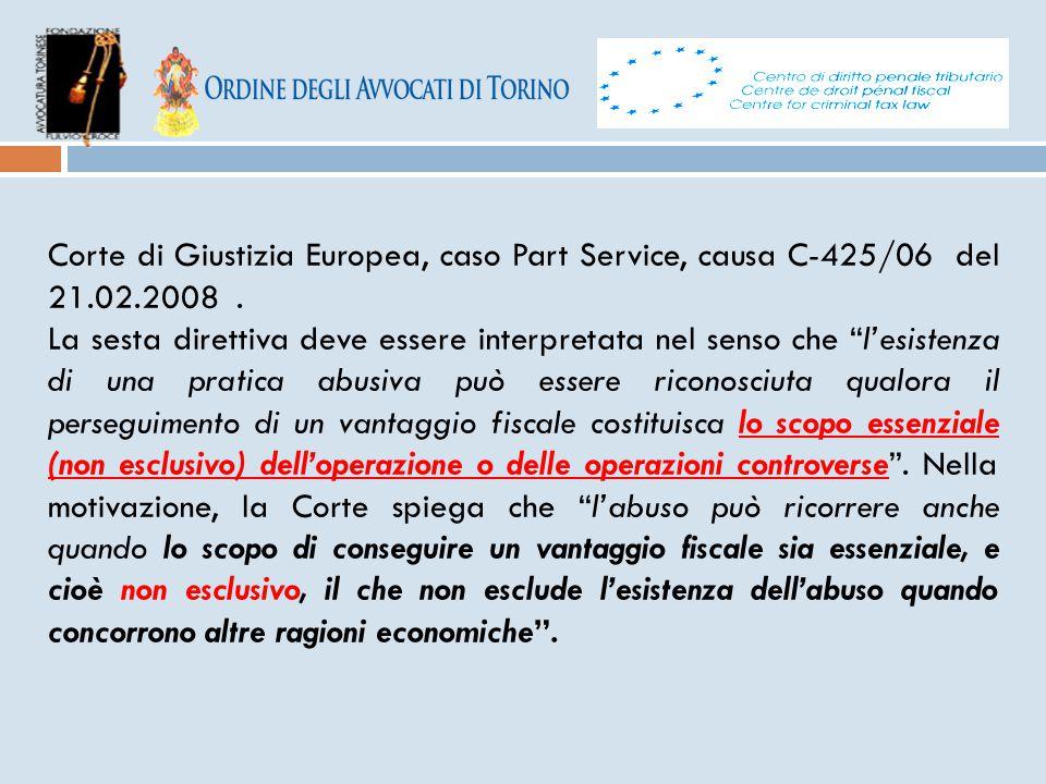Corte di Giustizia Europea, caso Part Service, causa C-425/06 del 21