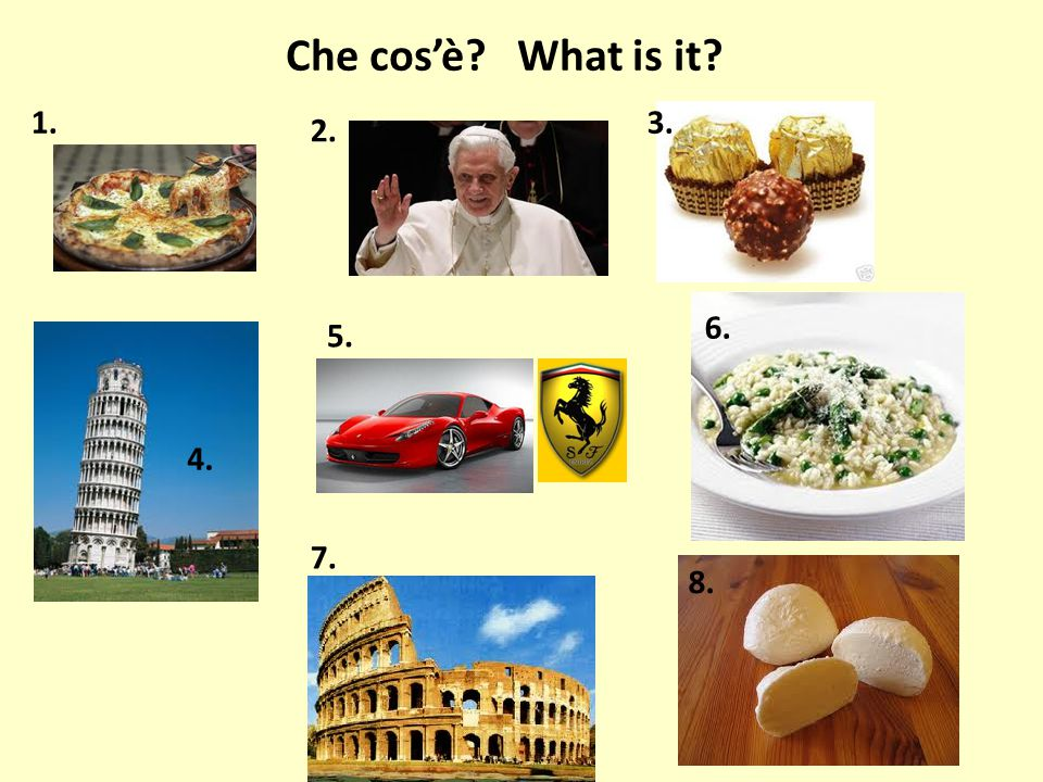 Che cos'è What is it 1. 3. 2. 6. 5. 4. 7. 8.