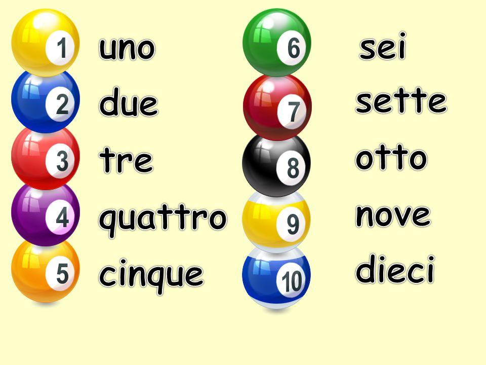 uno sei sette due otto tre nove quattro dieci cinque