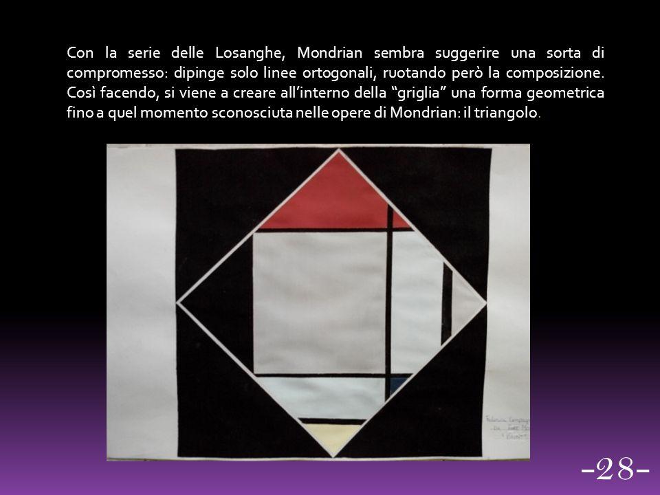 Con la serie delle Losanghe, Mondrian sembra suggerire una sorta di compromesso: dipinge solo linee ortogonali, ruotando però la composizione. Così facendo, si viene a creare all'interno della griglia una forma geometrica fino a quel momento sconosciuta nelle opere di Mondrian: il triangolo.