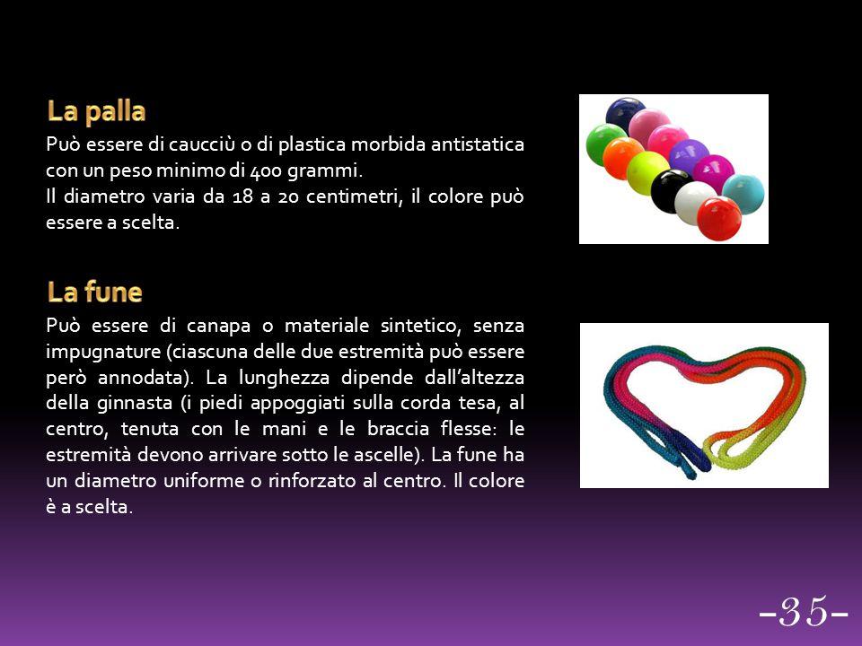 La palla Può essere di caucciù o di plastica morbida antistatica con un peso minimo di 400 grammi.
